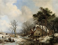 figures on a frozen stream on the outskirts of a village by hendrik van de sande bakhuyzen