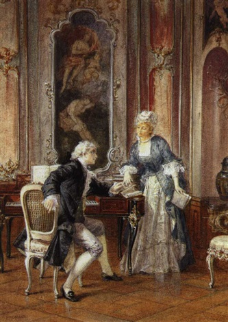 a romantic interlude an elegantly dressed couple pausing during a music lesson to hold hands by otto wilhelm eduard erdmann