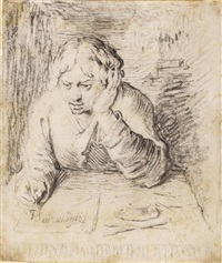 portrait of a young man writing by jacques de gheyn ii