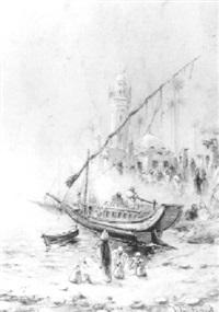 mosquée et fellahs au bord du nil by léon adolphe legendre