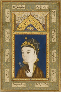an illustrated and illuminated album page: a princess holding a flower by anonymous-persian-safavid (16)