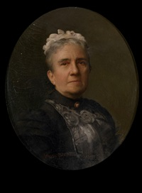 portrait of a lady, in a black and grey dress by marion boyd allen