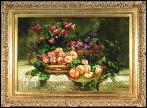 still life with plums and peaches by w. honner
