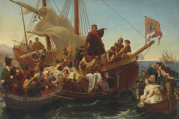 departure of columbus from palos in 1492 by emanuel gottlieb leutze