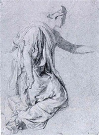 a draped female figure kneeling by claude audran the younger
