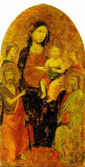 virgin and child with saint john the baptist and another saint and two angels by lippo d'andrea (ambrogio di baldese)