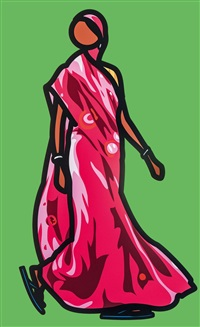 woman in sari with flip flops by julian opie