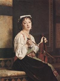 musicienne italienne by pierre paul léon glaize