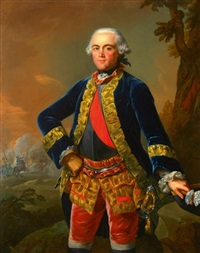 portrait du baron christian karl wilhelm von closen, colonel-commandant du royal deux-ponts, sur le champ de bataille, portant le grand cordon de maréchal de camp by johann heinrich tischbein the elder