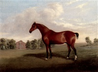 a bay stallion in a landscape by j.h. holden