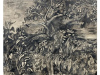 moonlit tree and undergrowth by john minton