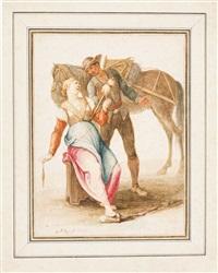 junge magd mit spinnrocken und spindel im gespräch mit einem stallknecht by georg philipp rugendas the elder