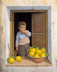 niño junto a una ventana y limones by felix tabasco