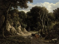 a wooded landscape with cattle and sheep by philipp reinagle