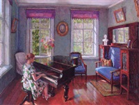 lady playing the piano in a sunny interior by leonid gershovich krivitsky
