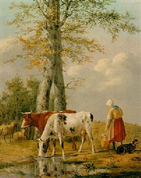 a cowherd with cattle in a meadow by anthony oberman