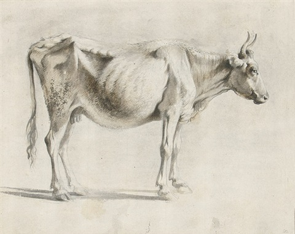 nach rechts stehende kuh in hellbraun und by jean jacques de boissieu