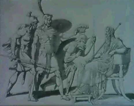 trois gaulois faisant faceverso un etude de gauloismed craie noire wplume encre lavis de gris by armand charles caraffe