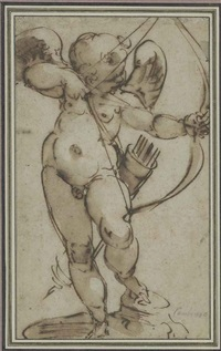 cupid aiming his bow by luca cambiaso
