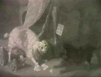 deux chiens se disputant des cartes a jouer by gabriel rouette