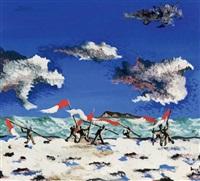 combat d'oriflammes sur la plage by jean lurçat
