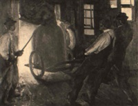 men moving crucible of molten steel by leland gustavson