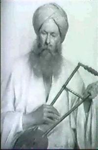 ein orientale in weissem kaftan und gelbem turban by marie müller