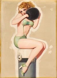 pin-up girl with muff by enoch bolles