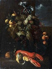 composition aux pommes, raisins et homard by alexander coosemans