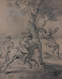 les soldats de david tuant absalon suspendu par les cheveux (livre de samuel xviii, 8 - 11) by leonard bramer