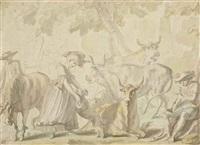 paysage avec mucisien et jeune femme entouré d'animaux by louis-félix de la rue