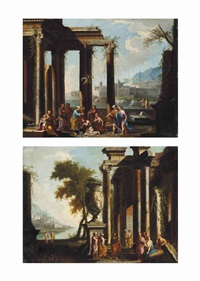 a capriccio of classical ruins with saint peter preaching (+ a capriccio of classical ruins with saint paul preaching; pair) by niccolò codazzi