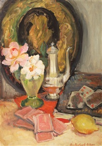 still life with turkish kettle and play cards by vera veslovschi nitescu