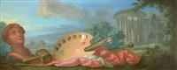still life with artist's palette by henri (hirne) le riche