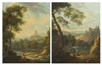 italian landscape (pair) by andrea locatelli