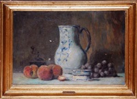 still life with fruit and pitcher by lucien rené mignon