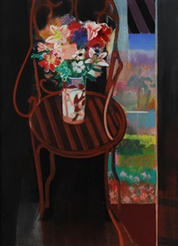 bouquet of flowers on wrought iron chair by walter joseph gerard bachinski