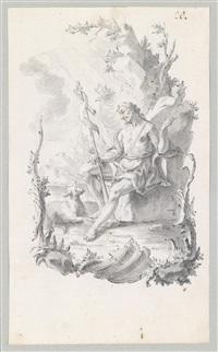 der hl. johannes der täufer in einer landschaft auf einem felsenvorsprung sitzend by johann wolfgang baumgartner