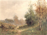 a winding path in a woodland landscape by edma morisot
