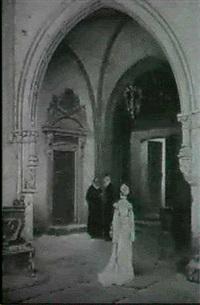 kirkeinterior med rygvendt kvinde og to praester i samtale by alex (axel) axelson