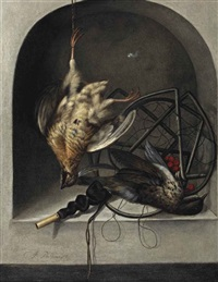 a partridge suspended from a nail, a starling, a trap and whistle in a stone niche by jacobus biltius