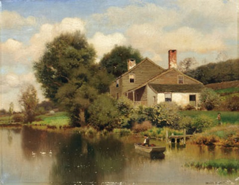 house by a pond with fisherman by henry pember smith