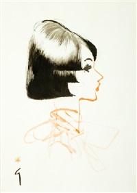profil féminin au foulard by rené gruau