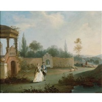 elegant figures strolling in a park by anthony highmore