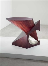 rare 1/2 cube + cone - cylinder table by fred baier