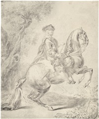 equestrian portrait of a nobleman by johann elias ridinger