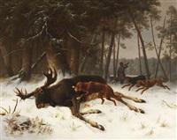 der erlegte elch by wilhelm reinhardt