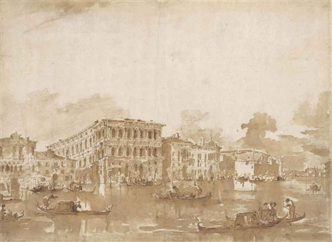 view of the south bank of the grand canal with ca pesaro recto view of the south bank of the grand canal east of san stae verso  by francesco guardi