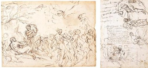 a bacchanal sheet of figure studies pen and brown ink and black chalk verso by anton domenico gabbiani