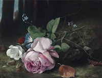 roses, forget-me-nots, and convolvulus in a forest clearing by arthur chaplin